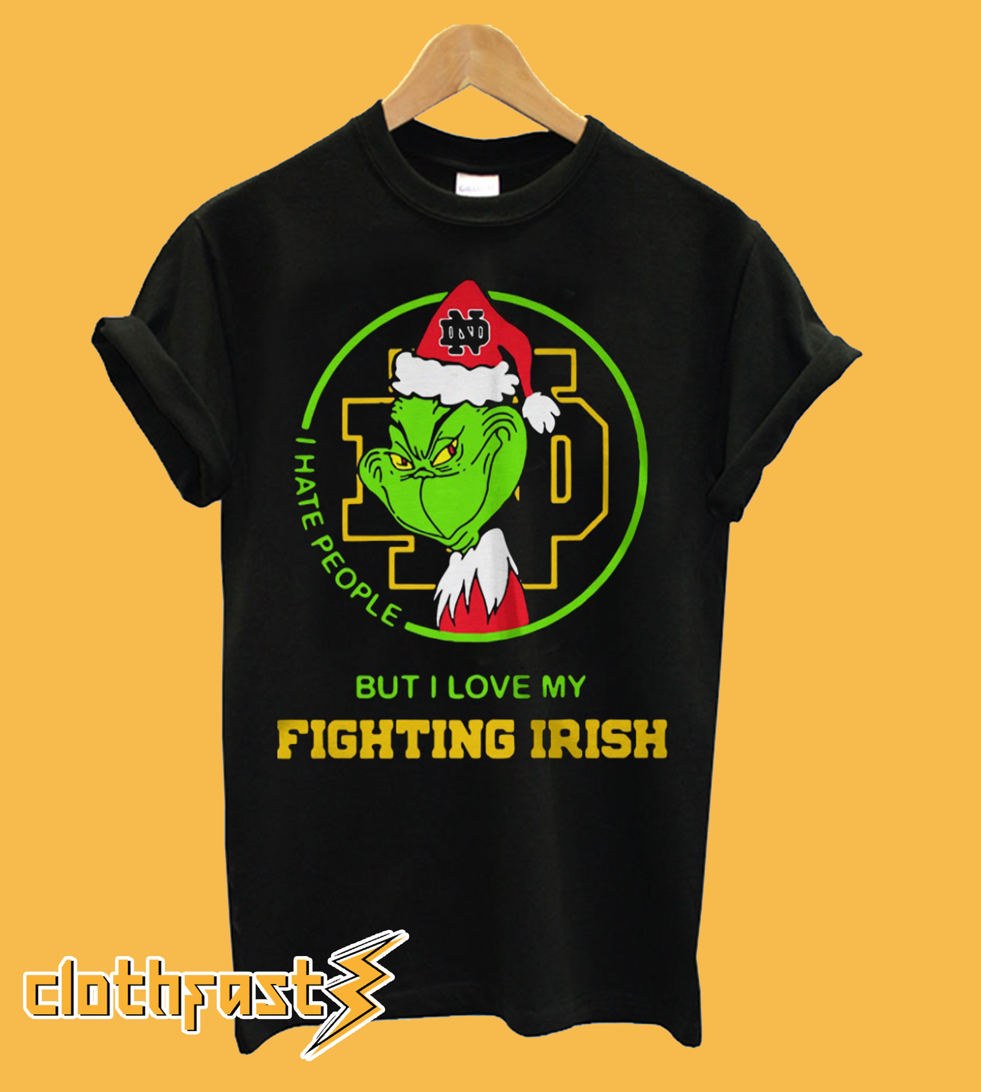Grinch I hate people but I love my Notre Dame Fighting Irish T-Shirt