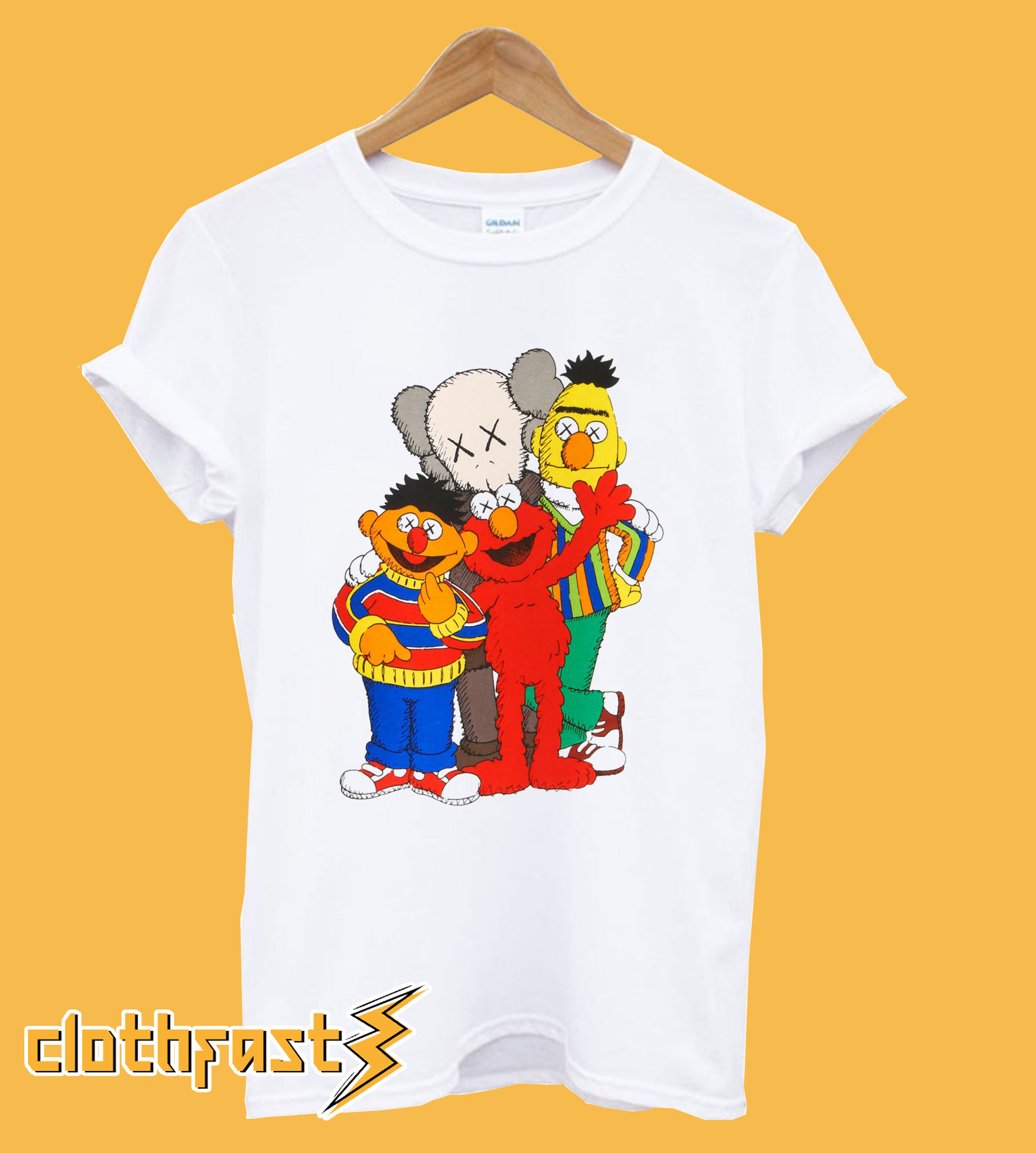 Uniqlo White Kaws X Sesame Street Graphic T-Shirt