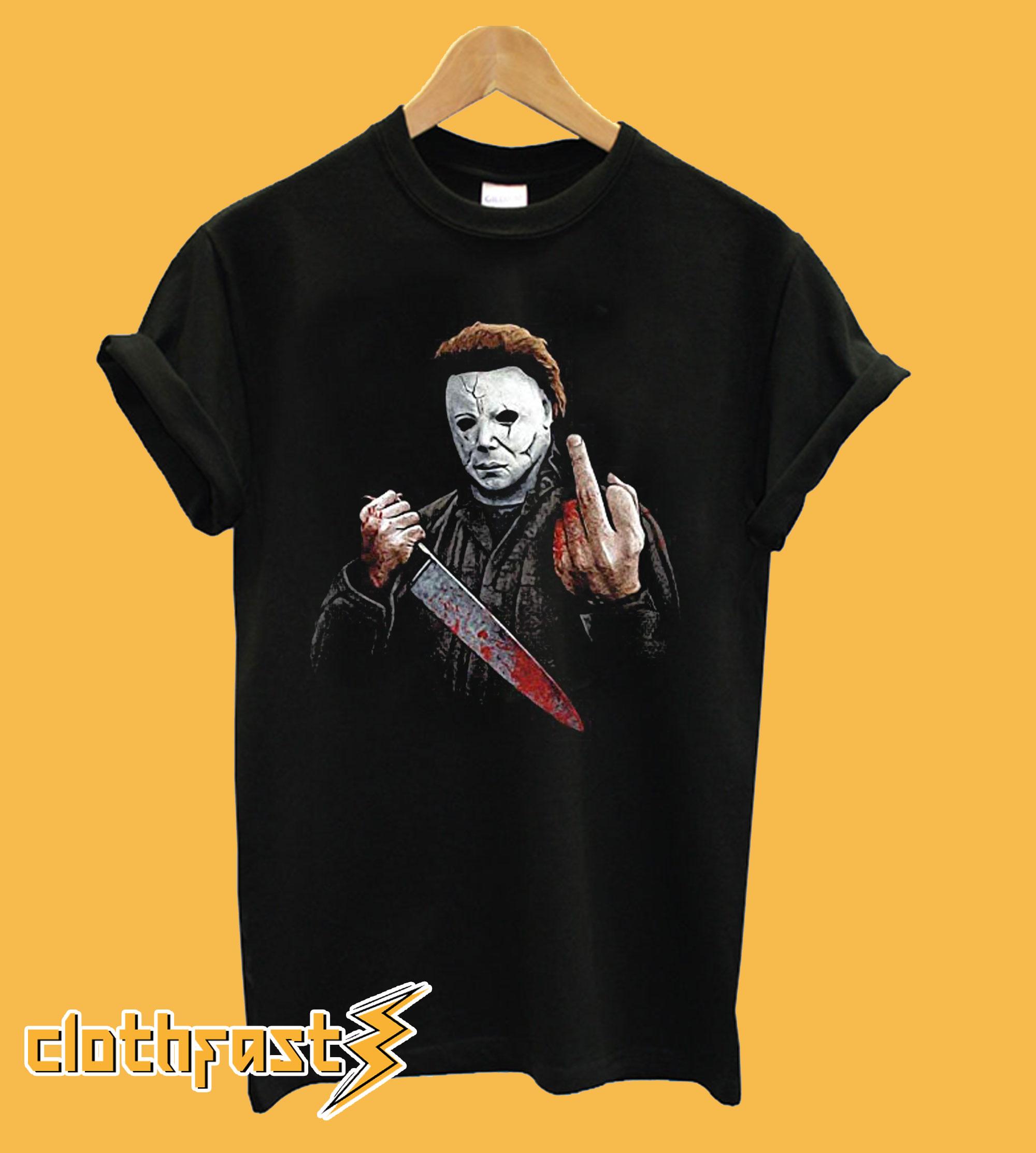 Michael Myers Halloween Middle Finger Horror Movie T-Shirt