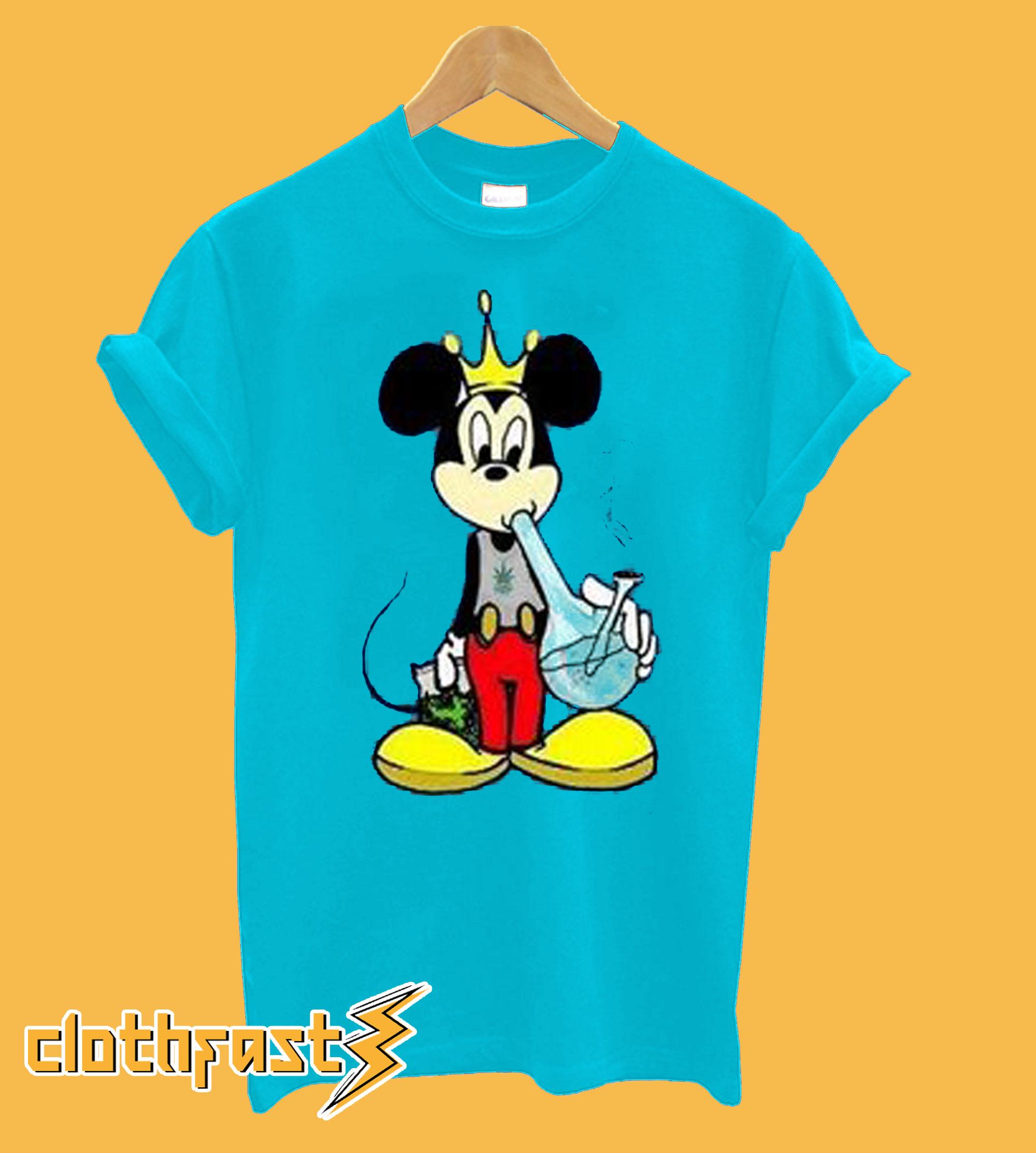 Mickey Mouse Smoking a Bong Marijuana 420 Stoner Weed T shirt