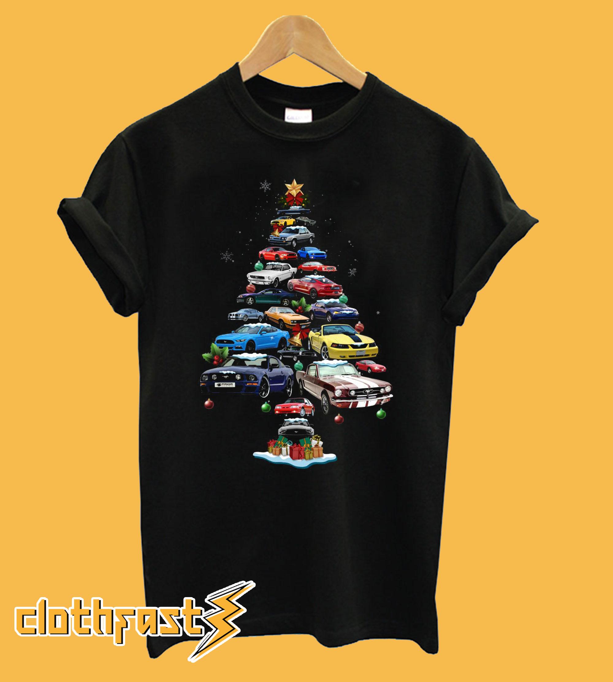 Mustang Car Christmas Tree T-Shirt