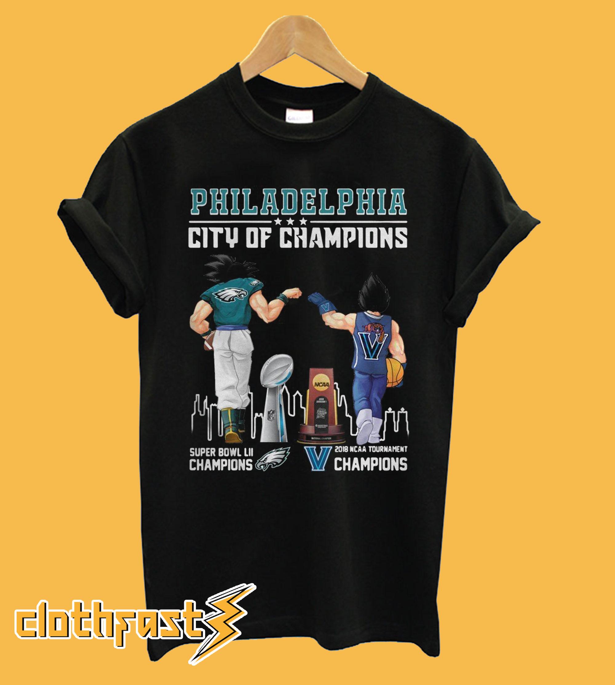 Philadelphia city of Champions Goku Eagles and Vegeta Villanova Wildcat T-Shirt