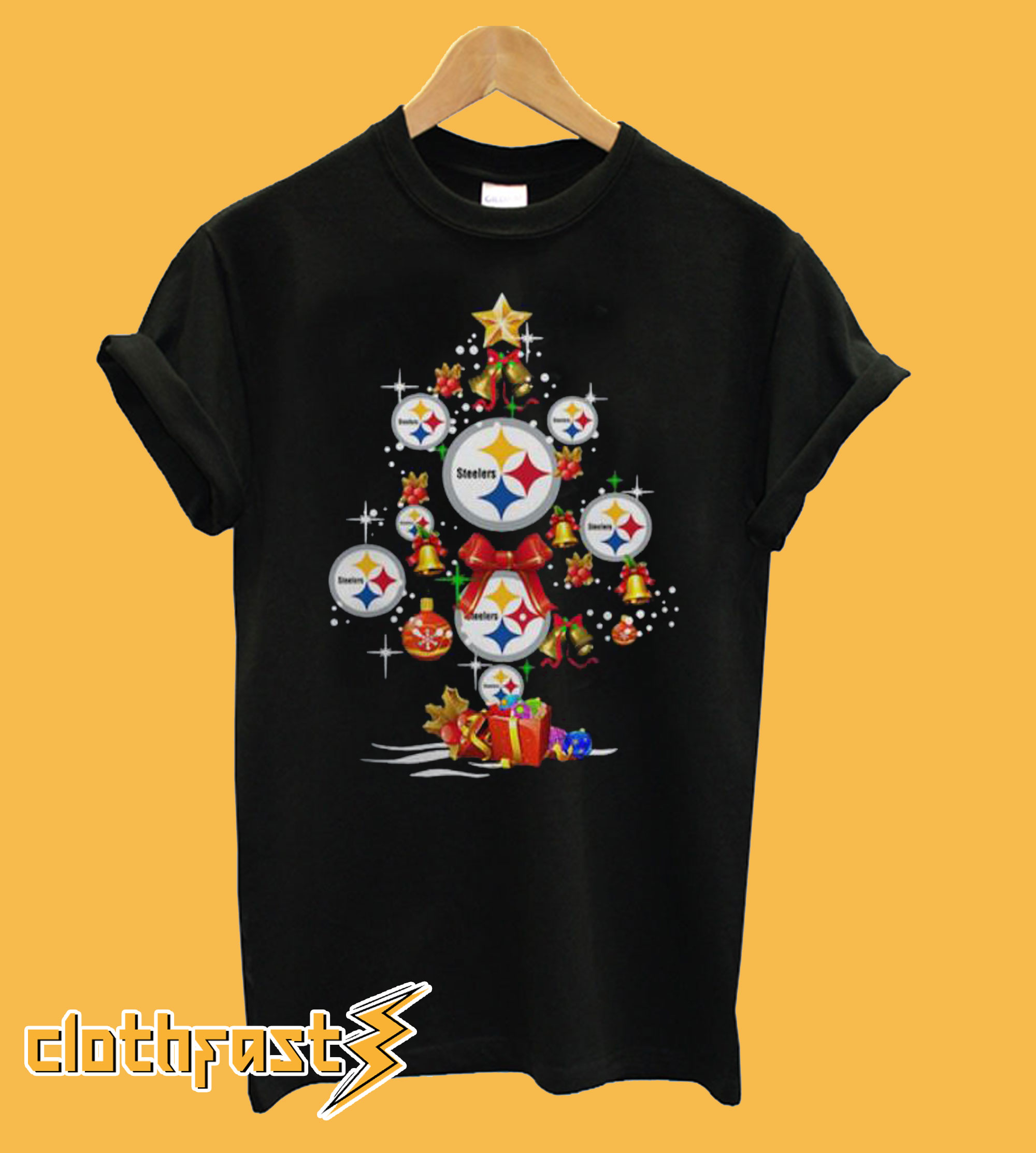 Pittsburgh Steelers Merry Christmas Tree T-shirt Unisex Tshirt