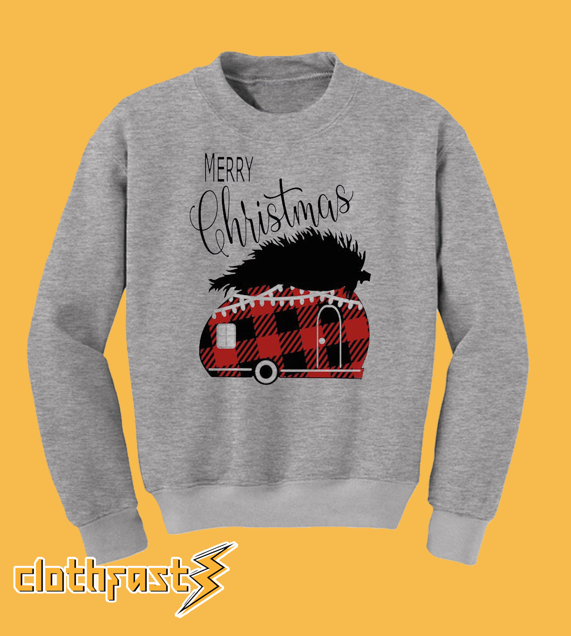 Plaid Camper Christmas Sweatshirt