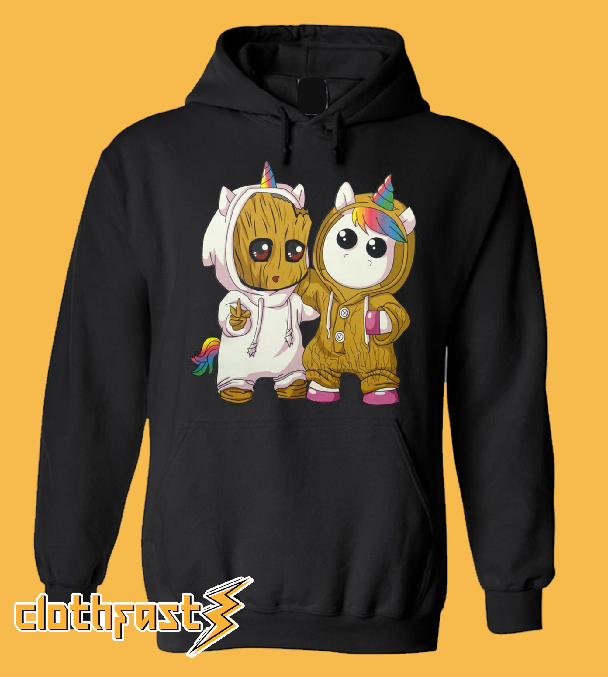 Unicorn And Groot Black Hoodie