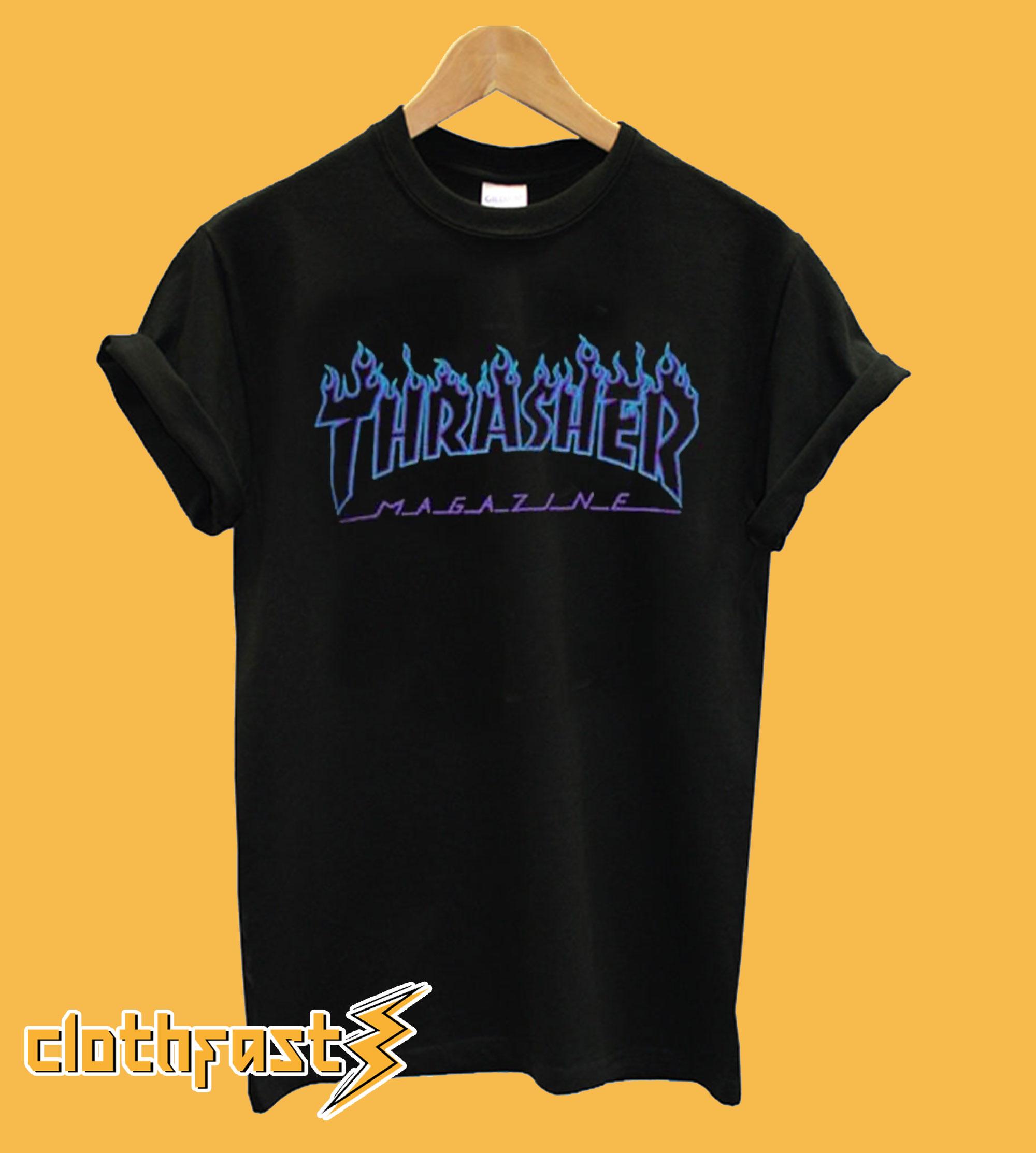 Thrasher Blue flame black T shirt