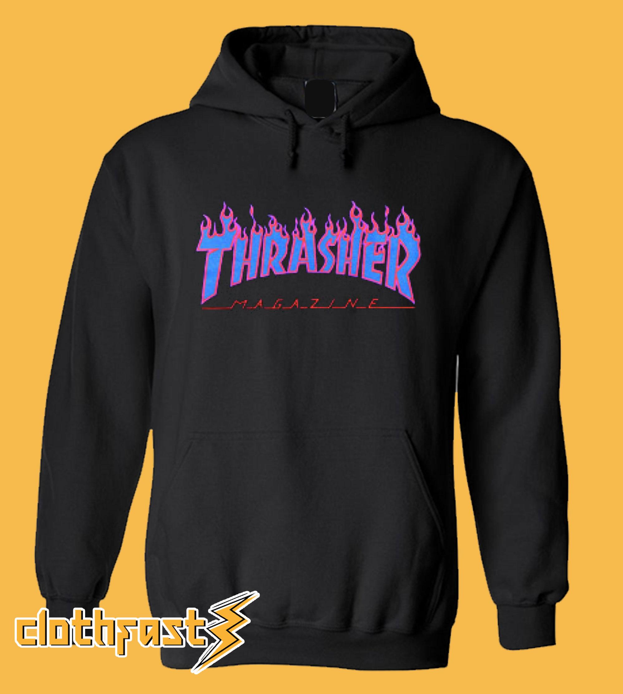 Thrasher Purple blue Flame Hoodie