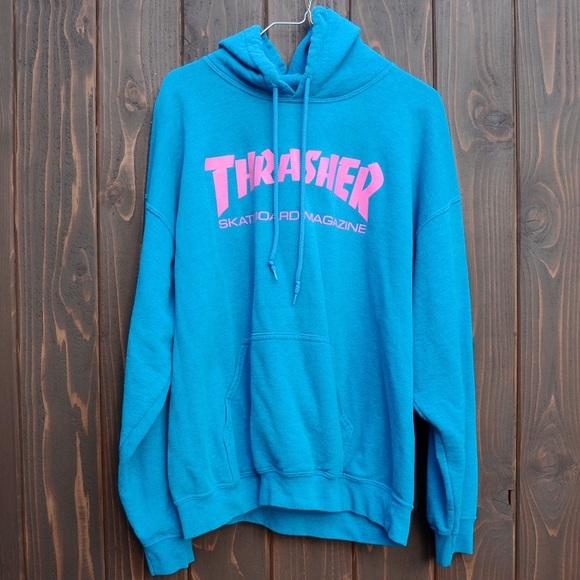 Thrasher Skateboard Magazine Blue Pink Hoodie