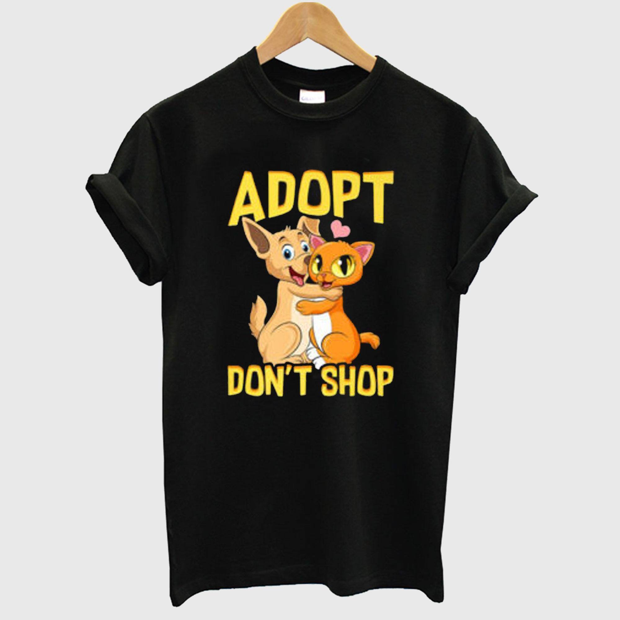 Adopt Don't Shop Cute Cat & Dog Rescue Adoption T-shirt