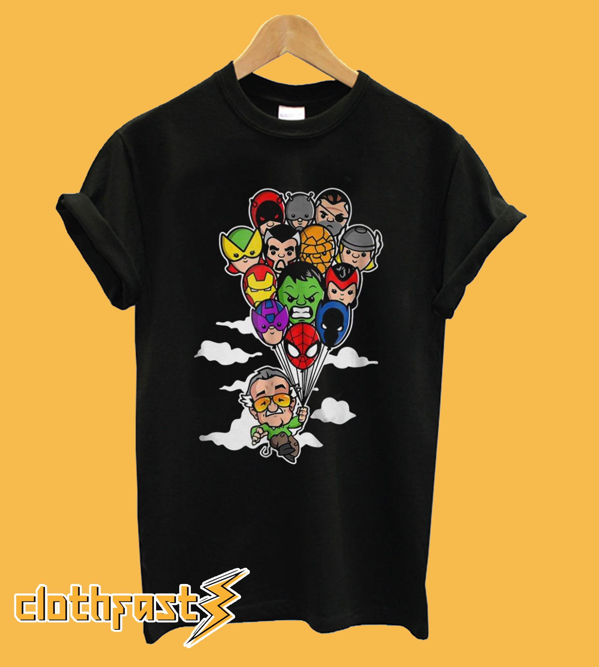 Stan Lee Holding Balloons Avengers Heroes T shirt