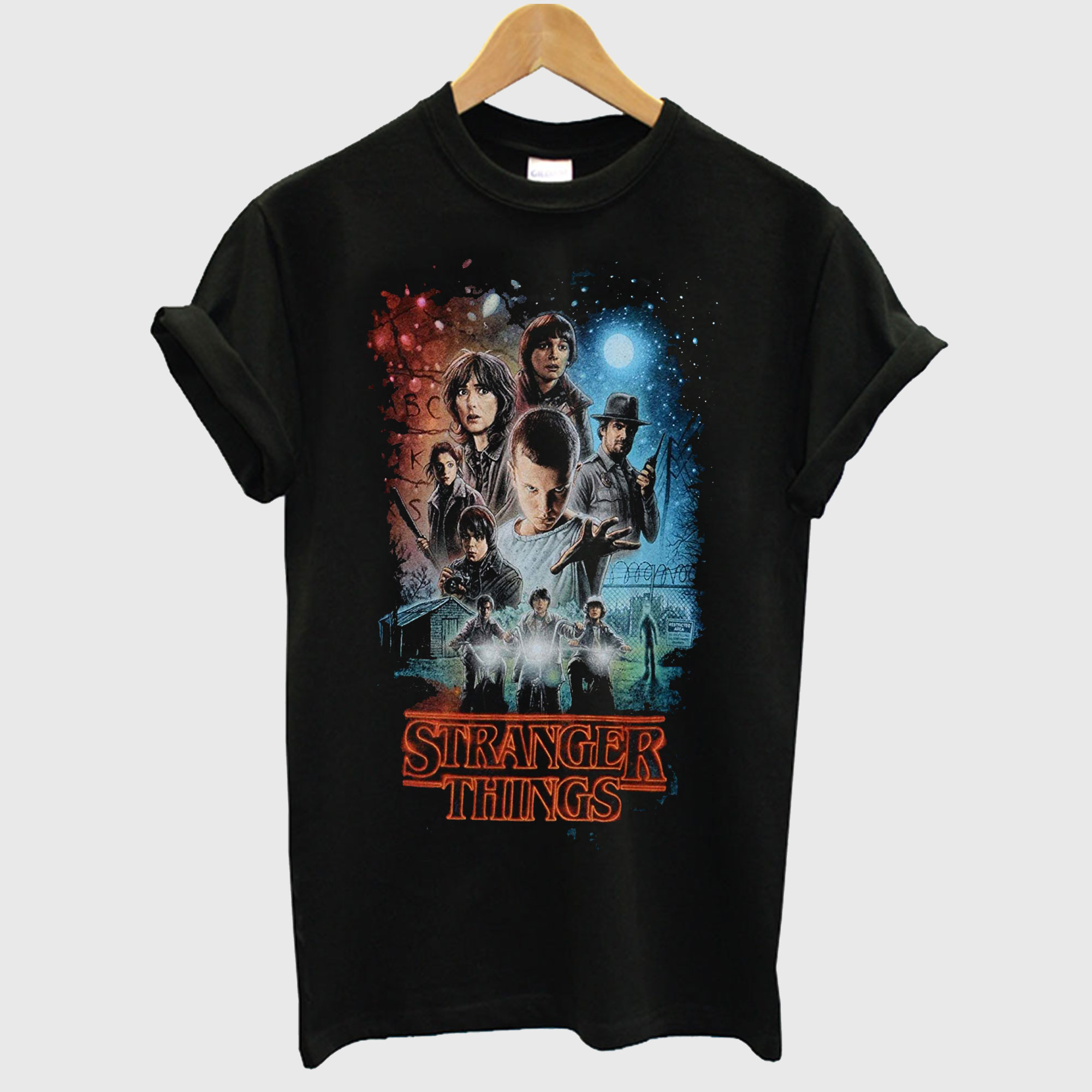 Millie Bobby Brown Stranger Things Autographed Group Shot Graphic T-Shirt