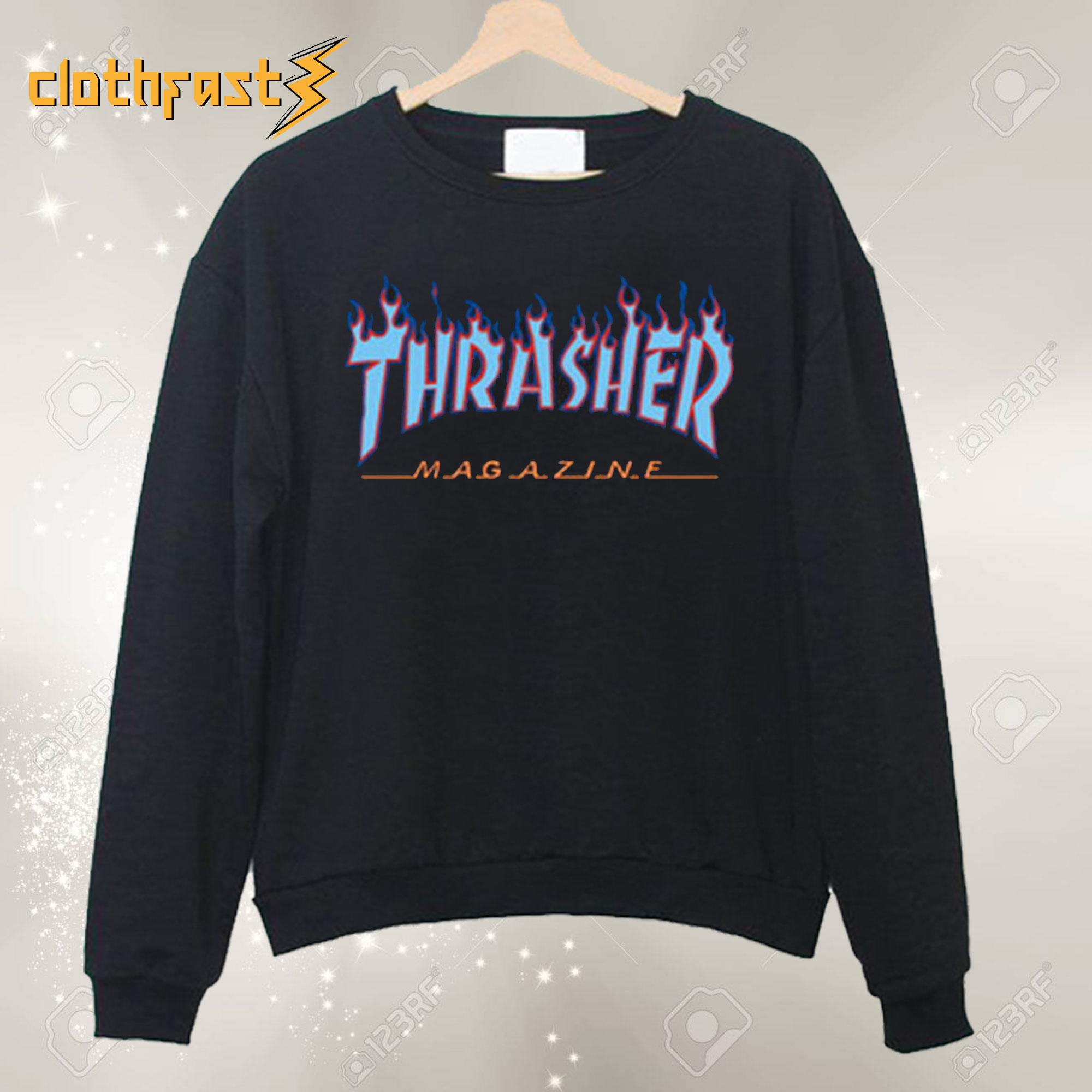 Thrasher Blue Flames Sweatshirt