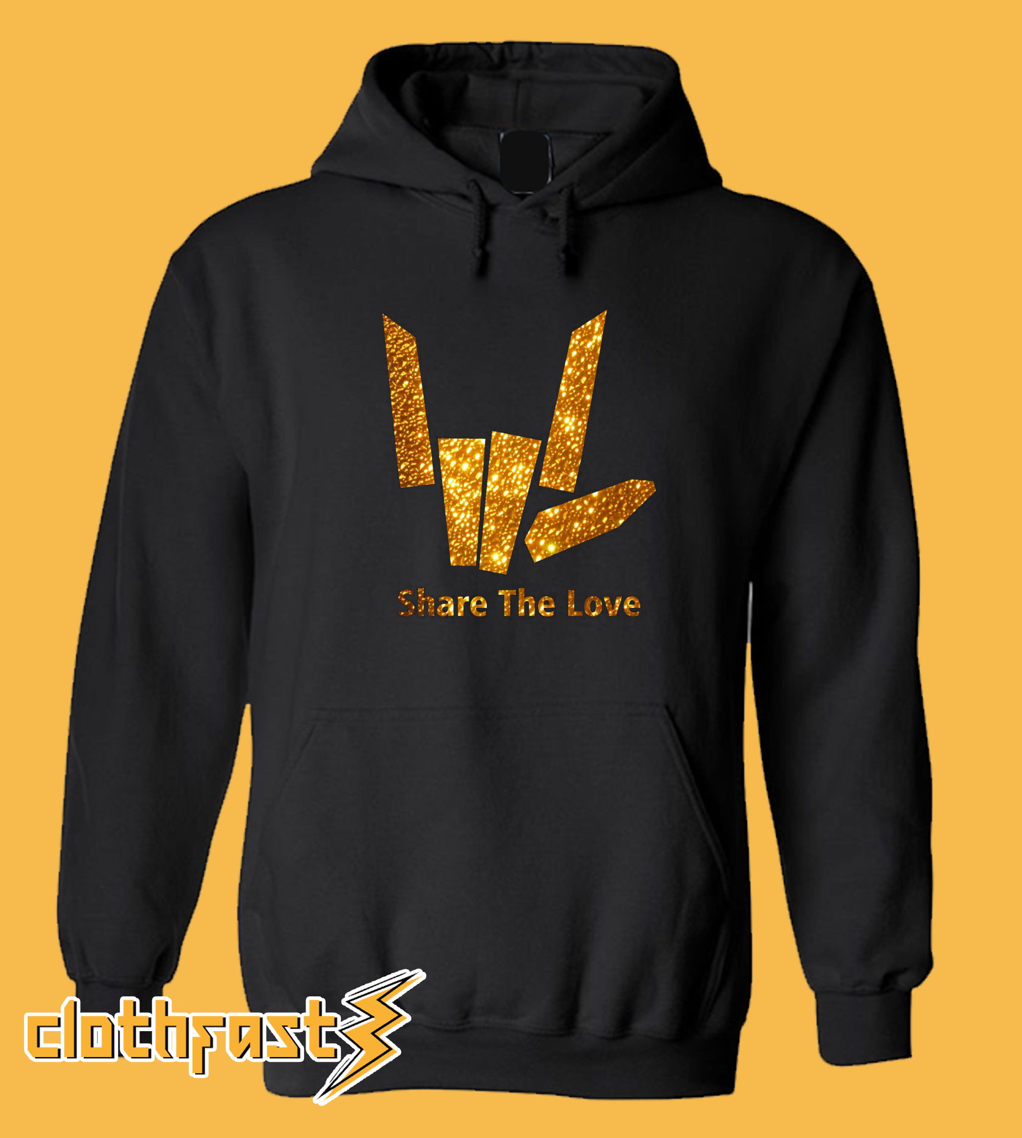 Share The Love Gold Hoodie